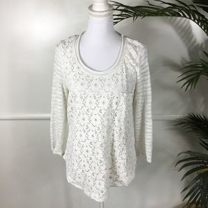 One September White Lace Floral Sweater Medium